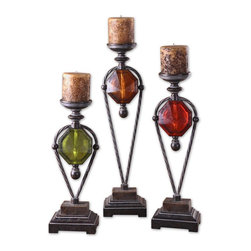 "Uttermost - Uttermost Kalika Wrought Iron Candleholders Set of 3 20489 - Lightly distressed, translucent ruby red, green and amber with crackled wood tone and wrought iron details. Antiqued candles included. Small size: 7""W x 19""H x 5""D, Medium size:ium size: 7""W x 23""H x 5""D, Lsrge size: 7""W x 27""H x 5""D."