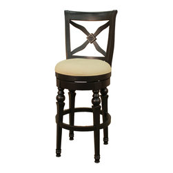 American Heritage - American Heritage Livingston Stool in Antique Black w/ Stone Fabric - 26 Inch - One look at this stool and you know that it will provide many years of comfort.  Notice all the detail in the wood carved back of this Livingston stool.  The stone fabric seat brings out the richness of the antique black frame.