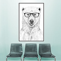 My Wonderful Walls - Polar Bear Wall Decal - Geek Bear by Balázs Solti, Small - - Product:  polar bear in glasses