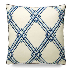"""Bamboo Trellis Embroidery Pillow - Blue - 20"""" - Striking, bold, blue bamboo design is interlocked upon a tan base making an exquisite finishing touch to any well decorated coastal home. Scatter a few upon your sofa or bed for put together look that has a polished and elegant feel."""