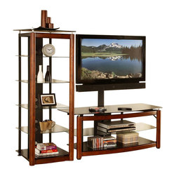 Golden Oak - 54 in. TV Console w Audio Tower Set in Brown Cherry - VAS - Set includes TV Console and Audio Tower. Made of Steel and Glass. Steel frame construction. Durable Black powder coated finish on all components. 8 mm Tempered Black Glass top. 5 mm Tempered Black Glass shelves. Floor levelers. Concealed cable management. Brown Cherry finish. VAS collection. Flat Panel Swinging Floater not included. Some assembly required. TV Console: 54 in. W x 22 in. D x 25 in. H (92.8 lbs.). Audio Tower: 23 in. W x 22.2 in. D x 61 in. H (84 lbs.)