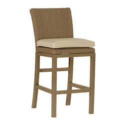 "Frontgate - Rustic Counter Height Outdoor Bar Stool with Cushion (24"" seat), Patio Furniture - Specially formulated N-dura&#8482 resin provides superior UV resistance and is formulated for a realistic look and feel. Generously proportioned, hand-welded aluminum frame. Cushion is covered in exclusive Sunbrella&reg fabrics, the finest solution-dyed, all-weather material available. Due to painted feature on legs, not recommend for saltwater environments. With its transitional design and comfortable, generously proportioned frame, the Rustic Counter Height Stool by Summer Classics&reg is perfect for most outdoor locations. It's crafted with N-dura resin wicker that is hand-woven over durable, non-corrosive aluminum frame to create furniture that will withstand the elements season after season. Part of the Rustic Collection by Summer Classics&regSpecially formulated N-dura resin provides superior UV resistance and is formulated for a realistic look and feel.  . . . Note: Due to the custom-made nature of the cushions, any fabric changes must be made within 48 hours of ordering."