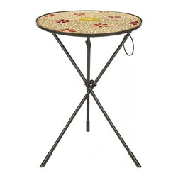 Safavieh - Cymbeline Side Table - Fun and functional, the Cymbeline side table by Safavieh is decorated with a glass mosaic top in a rust and gold floral motif. Graceful iron tripod legs assure the stability of this pretty table, which is designed to brighten up even the smallest spaces.