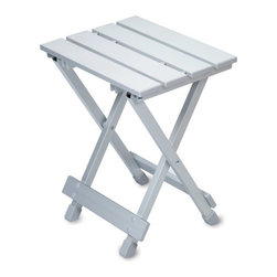 Picnic Time - Aluminum Seat, Side Table - Aluminum - The Aluminum Seat/Side Table by Picnic Time is a convenient and versatile folding seat and/or side table that is portable and compact enough to carry almost anywhere. Use it at the park, beach, camping, RVing, or on your patio. It also makes a great seat for the Aluminum Travel Table, 615-00-000, sold separately by Picnic Time.