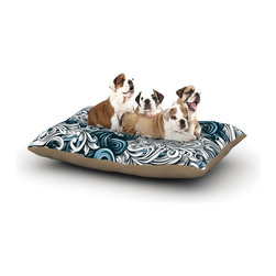 """Kess InHouse - Nick Atkinson """"Celtic Floral II"""" Abstract Blue Fleece Dog Bed (30"""" x 40"""") - Pets deserve to be as comfortable as their humans! These dog beds not only give your pet the utmost comfort with their fleece cozy top but they match your house and decor! Kess Inhouse gives your pet some style by adding vivaciously artistic work onto their favorite place to lay, their bed! What's the best part? These are totally machine washable, just unzip the cover and throw it in the washing machine!"""