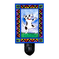 Dancing Dog Night Light - Our playful Dancing Dog Night Light will brighten any room with its soft comforting glow. It is made of a print of original painting which is sandwiched in between two layers of durable acrylic. The light is UL approved and comes with a standard four watt night light bulb. Gift box included. Made in the USA. (Be sure to look for our Dancing Dog wall clock, alarm clock and dog-themed magnets, too!)