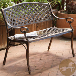 Christopher Knight Home - Christopher Knight Home Cozumel Antique Copper Cast Aluminum Bench - Give guests a place to rest on your patio or in your backyard garden with this copper-finished aluminum bench, or enjoy a cozy conversation with your significant other on this intimate two-seater. Leave the rust-proof bench outside in any weather.