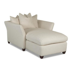 Klaussner - Casual Chair in Natural White - Fifi - Pillow style back cushions add architectural interest to this sophisticated arm chair, an elegant addition to any home's decor. Ideal in a contemporary space, the chair is upholstered in natural white and features a durable wood frame for long lasting beauty and style. Natural White color. Subtly sophisticated yet dashingly different is the Fifi collection. The three piece collection, featuring the Fifi sofa. Chaise and oversized chair, will fill any room with high fashion, style and comfort. 51 in. L x 46 in. W x 32 in. H (105 lbs. ).