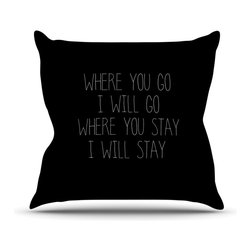 "KESS InHouse - Suzanne Carter ""Where You Go"" Typography Throw Pillow, Outdoor, 26""x26"" - Decorate your backyard, patio or even take it on a picnic with the Kess Inhouse outdoor throw pillow! Complete your backyard by adding unique artwork, patterns, illustrations and colors! Be the envy of your neighbors and friends with this long lasting outdoor artistic and innovative pillow. These pillows are printed on both sides for added pizzazz!"