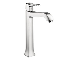 Hansgrohe Metris C Single-Hole Faucet, Tall - Metris C is inspired by classic shapes from the past and incorporates them into modern faucets.   M2 ceramic cartridge, Boltic handle lock, Includes pop-up assembly, Specifically designed for vessel sinks, Flow 2.2 GPM: 30% Water Savings   Available at www.shopstudio41.com