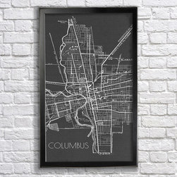Columbus, OH Map - 18x24in print. Frame (not) included.