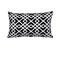 "LaCozi - ""Shasa"" Black and White Throw Pillow - So long, stripes and solids! This intricately patterned pillow has arrived to make a statement in your favorite setting. Plus, it's quality crafted of 100 percent cotton with double-stitched seams to really go the distance in your decor."