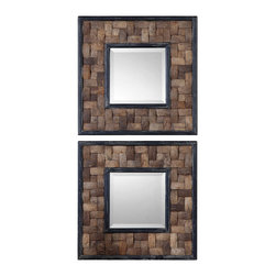 Uttermost - Uttermost Barros Squares S/2 Mirror - Barros Squares S/2 Mirror by Uttermost Frame Is Coconut Shell Layered In A Basket Weave Design With Distressed Black Inner And Outer Edges. Mirror Is Beveled.