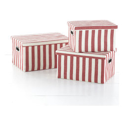 Pampelonne Baskets - Venetian Red - This set of nesting baskets is designed with bold stripes that remind us of the colorful umbrellas dotting the coast of Pampelonne Beach in Saint Tropez. They are a vibrant storage solution that unclutter a closet or organize an office. Each is crafted from woven paper with reinforced metal handles, and comes with a lid to conceal your stuff.