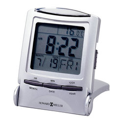Howard Miller - Howard Miller Distant Time Traveler Folding Alarm Clock - Howard Miller - Alarm Clocks - 645358 - This portable modern alarm clock is as convenient as they come and sure to be appreciated for mornings away from home. Featuring time as well as date and thermometer displays in a soft blue LCD over light and easy access front panel controls the Distant Time Traveler has the added appeal of folding up into a slim and lightweight metallic silver-tone case. The reliability of battery-operated quartz movement completes the Distant Time Traveler Folding Alarm Clock.