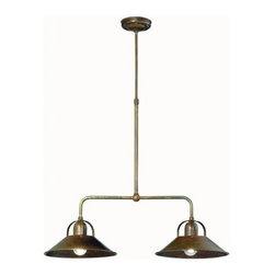 "Il Fanale - La Cascina Double Pendant - Antique brass double hanging pendant, hand-crafted in Italy. 9"" diameter shades x 43""h x 24""l. Height is adjustable. 2 75w max bulbs not included."