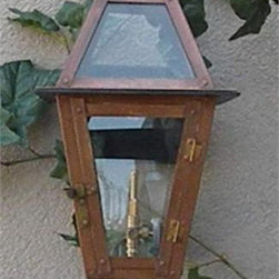 """Regency - Regency Beaumont Model Gaslight GL18 w/ Wall Mount 18"""" x 10"""" - The Regency Beaumont model gas light is the first in our line of Regency gas lights. This is a very popular size light at 18"""" Tall x 10"""" Wide x 12"""" Deep with wall bracket. These gas lights are all hand-made of copper materials with brass details, meticulously cut and riveted with exacting standards. These lights are also CSA certified for safety and durability. They include solid brass control valves for variable flame settings and years of dependable use and each light includes tempered glass panes. Other features include the antique (bronze)"""
