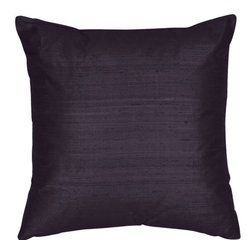 The Silk Group - Passion Navy 18x18-Inch Square Silk Dupioni Luxury Decorative Pillow Cover Only - - Handcrafted in the USA these decorative pillows are ideal for adding that special finishing touch to any space. Available in over 100 colors several of them can be combined for a grouping of complementary colors or contrasting shades. They feature 100% Grade A Silk Dupioni the finest highest quality most exquisite silk fabric on the market. A high quality knit backing is permanently bonded to the back of the fabrics used in our pillows. The knit backing adds body increased stability and longevity to the pillow. An invisible color-coordinated zipper is discretely placed on the bottom edge of the pillow so both faces of the pillow are able to be displayed. The fabric face has been treated with the most durable and permanent eco-friendly stain moisture and UV repellents available. Using nanotechnology the repellents penetrate deeply into the fibres of the fabric through a gentle heat curing process. This provides long lasting protection from water alcohol and oil-based stains as well as resistance from fading and discoloring over time  - Pillow cover only  - Laundering Information: Dry clean only  - Made in USA The Silk Group - SQ_Dup_Sol_Passion_Navy_18x18_CO