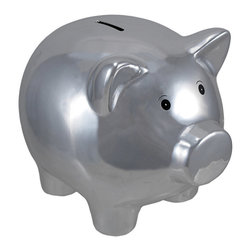 Metallic Silver Plated Ceramic Piggy Bank 8 In. - This reflective, metallic piggy bank adds a fun accent to your home or office. It is made of ceramic and measures 6 1/4 inches tall, 8 inches long, 6 inches wide, and empties via a plastic plug on the bottom. The feet are covered with foam pads to protect delicate surfaces. This bank makes a great baby shower gift, birthday gift, or holiday gift, and is sure to be loved.