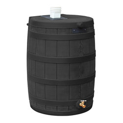 None - Sterling Rain Wizard 50-gallon Black Rain Barrel - The Rain Wizard 50 provides 50 gallons of pure,unchlorinated water to your plants when your town is short on water. The Rain Wizard features an attractive faux oak barrel design so it naturally fits in with your landscape.