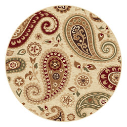 None - Infinity Collection Ivory Area Rug (5'3 Round) - These paisley ivory area rugs are round in shape for a unique design. Bold colors of red,black,and gold make these rugs a great,brilliantly colored addition to your office or bedroom. Machine-made for durability,this rug is made to last a long time.