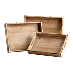 Cyan Design - Cyan Design Staton Trays - Pack of 3 X-90150 - Simple rectangular shaping and three sizes add to the appeal of this Cyan Design nesting tray set. The frame of each tray features cut-out detailing for handles, along with metal brackets and rivets for structural support and interest. A simple but appealing Washed Oak finish completes the look.