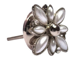 Modelli Creations - Fancy Diamonds Knob, Mother Of Pearl - Let your furniture play dress up. A simple vanity becomes a glamorous heirloom in an instant with this stunning flower knob made of pearl and diamond-like sparkles. Embellish a dresser, side table or jewelry drawer with a quick and easy makeover.
