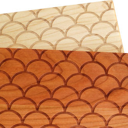 Richwood Creations - Solid Wood Cutting Board Scallop Pattern Design, Maple, 11x8.5 - This laser engraved scallop pattern is a unique style of cutting board. Add some flare to your kitchen with a piece of handmade fashion! Available in cherry or maple wood, and also various sizes.