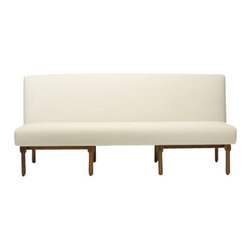 EcoFirstArt - Hotel Lorena Sofa - 1950 Italian sofa. Designed with a tight back and tight seat, and no arms. The defining design is captured by the fluid mahogany legs. This Beautiful sofa was inspired by Ico Parisi. Parisi̢���s career began in the early 1930̢���s in the Studio of Rationalist Architect Giuseppe Terragni. Here, through exposure to the abstract theories of Alberto Sartoris and the Gruppo di Como, Parisi encountered the then radical modernist doctrine of the integration and synthesis of architecture with the arts that would play an important role in his later work. Custom upholstery, sizes, and woods are available.