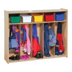"Steffywood - Steffywood Toddler Pre Kids Coat Shoe Organizer Wooden 5 Section Locker - Five section locker has five top mounted double coat hooks can hold up to ten coats and/or bags.5/8""thick, maple-faced melamine panels. Top storage areas measure 7""H x 9""W x 11""D. Center sections are 28""H x 9""W.Tools and hardware supplied - easy to assembly. Full finished rounded corners, recessed back panel. Made in USA - GreenGuard Certified."