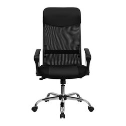 Flash Furniture - Flash Furniture Office Chairs Leather Executive Swivels X-GG-509-TB - For a contemporary and stylish mesh computer chair for your home or office there's no need to look any further. This executive chair with a mesh back from Flash Furniture will provide a comfortable and functional addition to any setting. Featuring a cool mesh back, leather seat, and a chrome base, this computer chair provides all the necessities for a home or office desk chair with a few extra features. [BT-905-GG]