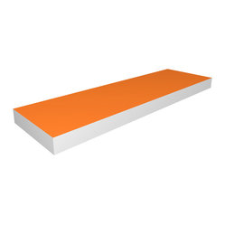 "Way Basics - Floating Shelf 36"", Orange - Look Ma, no brackets! This shelf adheres to the wall with hidden anchors for a clean, contemporary look. Perfect for displaying art, framed photos or treasured mementos, it's made of sturdy recycled paper and is free of formaldehyde and VOCs, so it's easy on the Earth as well as the eyes."