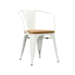 Bistro Arm Chair In White - Set Of 2 - With a seat made from luxuriously rustic unfinished teak, the highly durable Bistro Armchair boasts grade A sheet metal construction. Equally great for all workplace environments and around the home, this chair has rubber feet to protect your floors and can be stacked up to 8 high for easy storage and mobility.