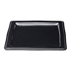 Elite Global Solutions - Black Venetian 13 Sq x 3/4 H Square Plate - Case of 4 - Tastefully beaded edging inspired by the winding canals of Venice gives this series a classically modernized look. These elegant pieces are designed to lock into pedestal bases