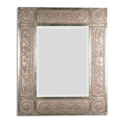 "Harvest Serenity Champagne Gold Mirror - This Ornate Frame Features Heavily Distressed, Golden Champagne Leaf With Black Undertones, Deep Red Dry Brushing And A Heavy, Rusty Tan Wash. Mirror Has A Generous 1 1/4"" Bevel. May Be Hung Either Horizontal Or Vertical."
