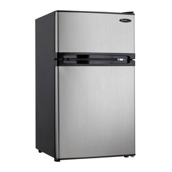 "Danby - Dual Door Compact Fridge with Freezer - 3.1 cu.ft. (87 liters) total capacity refrigerator, 0.87 cu.ft. (24.7L) Independent freezer section, Energy star compliant, Environmentally friendly R600a refrigerant, Spotless steel finish - looks identical to real stainless, steel but without the smudging, Cycle defrost, 1 full width tempered glass shelf for maximum storage, versatility, 1 full width adjustable wire freezer shelf, Integrated door shelving with tall bottle storage, CanStor beverage dispensing system ,Vegetable crisper and cover, Mechanical thermostat, Interior light, Integrated handle, unit dimensions: 18 14/16"" W x 19 11/16"" D x 33 7/16"" H."