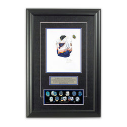"""Heritage Sports Art - Original art of the NHL 1996-97 St. Louis Blues jersey - This beautifully framed piece features an original piece of watercolor artwork glass-framed in an attractive two inch wide black resin frame with a double mat. The outer dimensions of the framed piece are approximately 17"""" wide x 24.5"""" high, although the exact size will vary according to the size of the original piece of art. At the core of the framed piece is the actual piece of original artwork as painted by the artist on textured 100% rag, water-marked watercolor paper. In many cases the original artwork has handwritten notes in pencil from the artist. Simply put, this is beautiful, one-of-a-kind artwork. The outer mat is a rich textured black acid-free mat with a decorative inset white v-groove, while the inner mat is a complimentary colored acid-free mat reflecting one of the team's primary colors. The image of this framed piece shows the mat color that we use (Medium Blue). Beneath the artwork is a silver plate with black text describing the original artwork. The text for this piece will read: This original, one-of-a-kind watercolor painting of the 1996-97 St. Louis Blues jersey is the original artwork that was used in the creation of this St. Louis Blues uniform evolution print and tens of thousands of other St. Louis Blues products that have been sold across North America. This original piece of art was painted by artist Nola McConnan for Maple Leaf Productions Ltd. Beneath the silver plate is a 3"""" x 9"""" reproduction of a well known, best-selling print that celebrates the history of the team. The print beautifully illustrates the chronological evolution of the team's uniform and shows you how the original art was used in the creation of this print. If you look closely, you will see that the print features the actual artwork being offered for sale. The piece is framed with an extremely high quality framing glass. We have used this glass style for many years with excellent results. W"""
