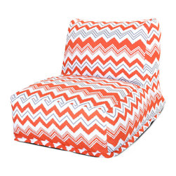 Majestic Home - Outdoor Orange Zazzle Bean Bag Chair Lounger - Add style and functionality to your living room, family room or outdoor patio with the Majestic Home Goods Bean Bag Chair Lounger. This Beanbag Chair has the design of modern furniture, while still giving the comfort of a classic bean bag. Woven from outdoor treated polyester, these loungers have up to 1000 hours of U.V. protection and are able to withstand all of natures elements. The beanbag inserts are eco-friendly by using up to 50% recycled polystyrene beads, and the removable zippered slipcovers are conveniently machine-washable.