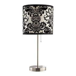 http://www.adarn.com/decor/lighting/lamps/coaster-table-lamp-with-black-white-da - A sleek base with a classic print shade makes this table lamp a lovely addition to an office, bedroom, or living room.