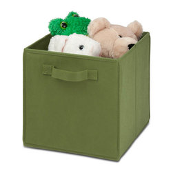 Honey Can Do - Non-Woven Foldable Storage Cube - Green - Durable polyester construction. Designed to hold Books, Toys, Games, Magazines, CDs, DVDs, almost anything. Contemporary design . Convenient and attractive storage. Folds flat when not in use. Stores away quick and easy. 10.6 in. L x 10.6 in. W x 11.4 in. H (1.3 lbs.)Honey-Can-Do SFT-01761 Folding Storage Cube, Green. Designed to hold books, toys, games, and anything else you want to stash away. The durable polyester construction, reinforced seams, and carrying handles on this storage cube will stand up to it all! The contemporary design provides convenient and attractive storage space for any decor. When not in use, the cube can fold flat for easy storing. Great for car trunks, kid's rooms, closets, shelving units, and more!