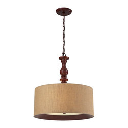 Elk Lighting - Elk Lighting Nathan Transitional Convertible Semi Flush Mount / Pendant Light X- - This Pendant Collection Combines Rich Wood Tones With Stylish Fabrics For An Alluring Appearance.  Each Drum Shade Has A Realistic Wood Printed Band That Is Recessed Into The Bottom Of The Fabric Shade And Tapers Into A Frosted Glass Diffuser.   A Turned Wood Center Column Supports One Style While The Other Pendant Has The Versatility Of Extension Rods To Convert To A Semi Flush.  Choose From Dark Walnut With A Wheat Linen Or Foliage Patterned Fabric And Washed Pine With A Gray Or Slate Linen Fabric.