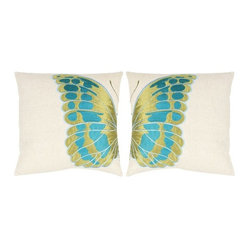 Indra Wing Toss Pillows, Green/Blue