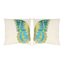 Indra Wing Toss Pillows, Green/Blue - I can never have to many accent pillows.