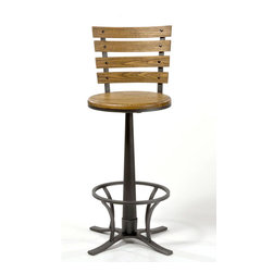 Hillsdale Furniture - Swivel Bar Stool - Constructed of metal with a steel gray finish. Complemented by a wooden, light oak-finished seat bearing a strong resemblance to old school desk chairs. 360 degree swivel stool. Seat Height: 30 in. H. 22 in. W x 22 in. D x 43.75 in. H (24.7 lbs.)