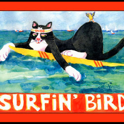 Caroline's Treasures - Black And White Cat Surfin Bird Indoor Or Outdoor Mat 24X36 Doormat - Indoor / Outdoor Mat 24x36 - 24 inches by 36 inches. Permanently dyed and fade resistant. Great for the front door or the back door.  Use this mat inside or outside.    Use a garden hose or power washer to chase the dirt off of the mat.  Do not scrub with a brush.  Use the Vacuum on floor setting.  Made in the USA.  Clean stain with a cleaner that does not produce suds.
