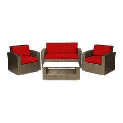 Reef Rattan - Reef Rattan Miami 4 Pc Conversation Set with Deep Seating Love Seat - Natural Ra - Reef Rattan Miami 4 Pc Conversation Set with Deep Seating Love Seat - Natural Rattan / Red Cushions. This patio set is made from all-weather resin wicker and produced to fulfill your needs for high quality. The resin wicker in this patio set won't fade, shrink, lose its strength, or snap. UV resistant and water resistant, this patio set is durable and easy to maintain. A rust-free powder-coated aluminum frame provides strength to withstand years of use. Sunbrella fabrics on patio furniture lends you the sophistication of a five star hotel, right in your outdoor living space, featuring industry leading Sunbrella fabrics. Designed to reflect that ultra-chic look, and with superior resistance to the elements in a variety of climates, the series stands for comfort, class, and constancy. Recreating the poolside high end feel of an upmarket hotel for outdoor living in a residence or commercial space is easy with this patio furniture. After all, you want a set of patio furniture that's going to look great, and do so for the long-term. The canvas-like fabrics which are designed by Sunbrella utilize the latest synthetic fiber technology are engineered to resist stains and UV fading. This is patio furniture that is made to endure, along with the classic look they represent. When you're creating a comfortable and stylish outdoor room, you're looking for the best quality at a price that makes sense. Resin wicker looks like natural wicker but is made of synthetic polyethylene fiber. Resin wicker is durable & easy to maintain and resistant against the elements. UV Resistant Wicker. Welded aluminum frame is nearly in-destructible and rust free. Stain resistant sunbrella cushions are double-stitched for strength and are fully machine washable. Removable covers made with commercial grade zippers. Tables include tempered glass top. 5 year warranty on this product. PLEASE NOTE: Throw pillo