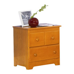 Atlantic Furniture - Atlantic Furniture Windsor 2 Drawer Nightstand in Caramel Latte - Atlantic Furniture - Nightstands - C69207 - The Windsor Nightstand has clean lines accentuated by simple decorative touches. The classic design, reminiscent of Mission style furniture, would be an ideal bedside storage / display piece for a range of decors including casual, country or contemporary.