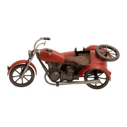ecWorld - Handmade Vintage-style Red Metal Model Motorcycle with Sidecar - Made entirely by hand with tin and other metal parts, this antique style model replica motorcycle with sidecar is hand-shaped, hand-painted, and hand-soldered. The piece is carefully crafted and takes an average of 10 man-hours to complete. These metal replicas are for home decoration only, not a children's toy.