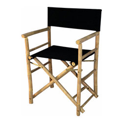 """Master Garden Products - Set of 2 Pieces Bamboo Director Chair, Black Canvas, 23""""W x 19""""D x 35""""H - Our foldable bamboo director chairs are ideal for both the indoors and outdoors, in your home or outdoor patio. Handcrafted with solid bamboo for excellent strength and beauty. These chairs are solidly built with no assembly required. These elegant chairs are ideal for seating in public establishments as well as casual use at home. They are available in a light bamboo color."""