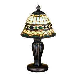 "Meyda Tiffany - Meyda 13""H Tiffany Roman Mini Lamp - Emerald-colored jewels and Multi colored granite glass, accent the handsome Amber Beige art glass reproduction of a famous Louis Comfort Tiffany design. This Tiffany Roman shade is Inspired by Italian art and architecture and is handcrafted of authentic stained-glass by Meyda Tiffany artisans using a copper foil construction method. The Mini Lamp base is finished in a hand applied Mahogany Bronze."